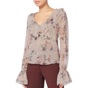 Intermix Thalia pink silk floral blouse